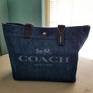 Coach Denim Tote Bag, Gently used, no flaws